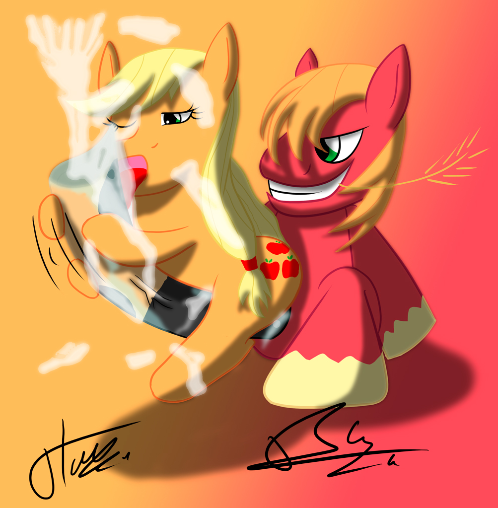 mlp mac big fluttershy and Five nights at freddy's the mangle